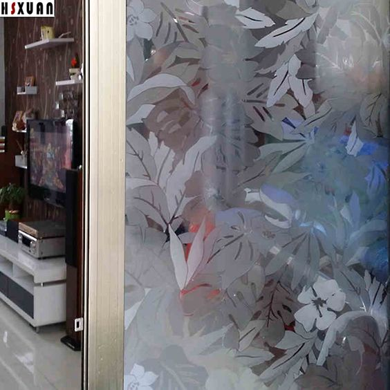 Flower Decorative Window Film 92x100cm Sliding Glass Door Self