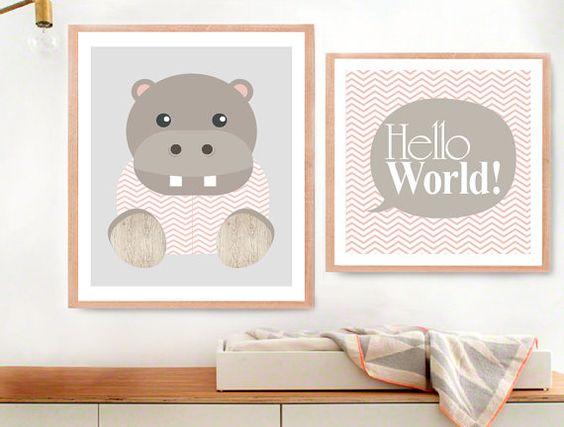 Art Prints Set of Two Hippo Art print Baby Hippo by MelimeBabyArt