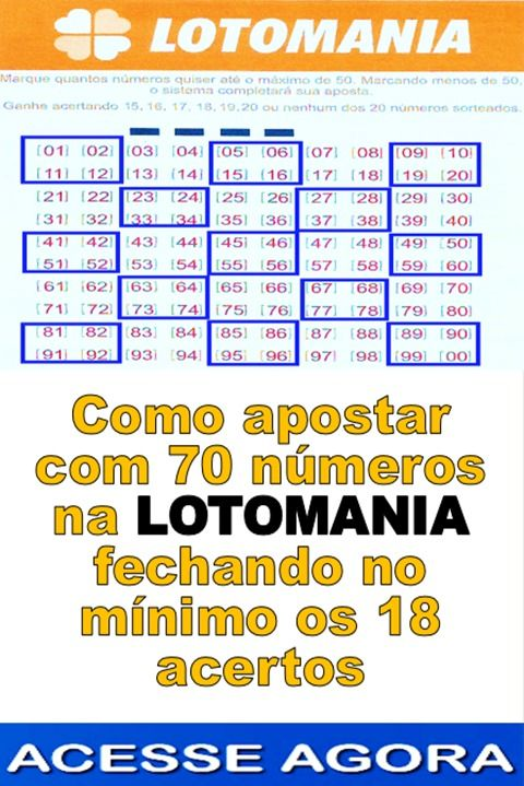 Fechamento Lotomania 70 Dezenas 18 Pontos Com Filtros In 2020