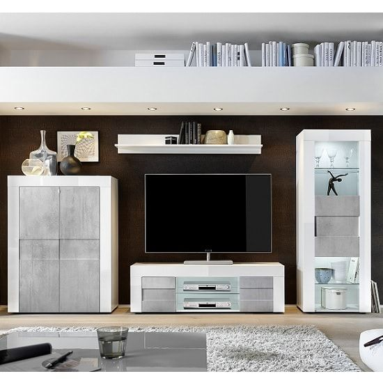 Santino Living Room Set In White High Gloss And Grey With Led Living Room Sets Led Furniture Living Room Furniture