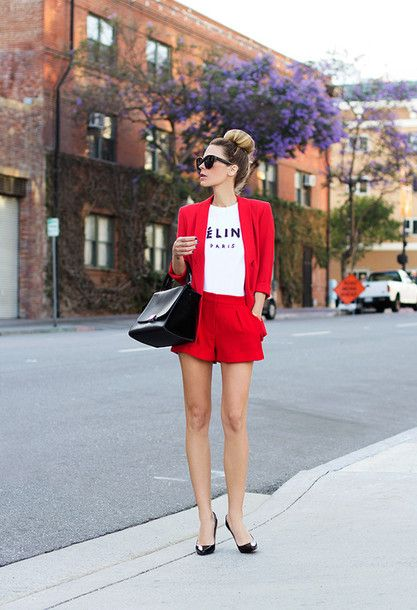 native fox, sunglasses, jacket, bag, shorts, shoes  love everything she wears. Red suit, celine.