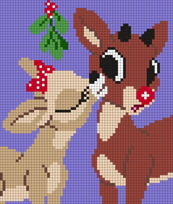 Clarice And Rudolph - The Red Nosed Reindeer - Christmas  Perler Bead Pattern: