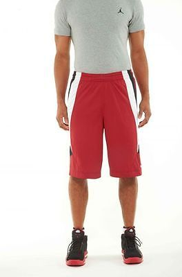 NIKE DOUBLE MENS BASKETBALL SHORTS  MENS shorts 339219-648 RED-WHITE-BLACK SZ-M
