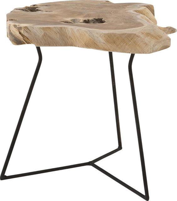 Kies je voor de boomstam salontafel, plaats dan naast de bank een ...