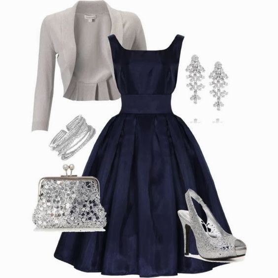 Party dress with grey blazer blue dress and silver sandals  My ...