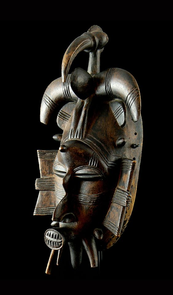Africa | Senufo Kpeliye'e Mask | Wood; dark brown patina.  ca. 1970 or earlier
