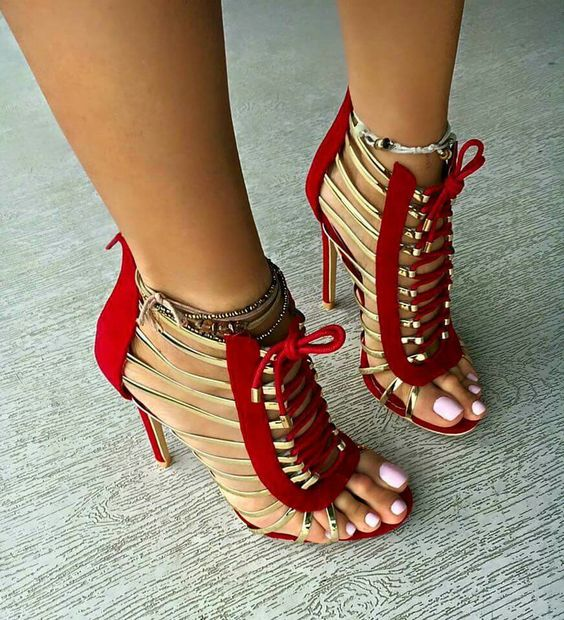 Red and Gold gladiator style heels