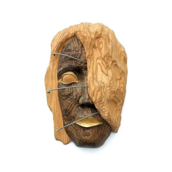 Walnut wood and metal Wall Mounted or Wall Hanging sculpture by artist Dana Nachlinger titled: 'Wooden sculpture Africa (Carved Wood female Face Head Carving statue)'
