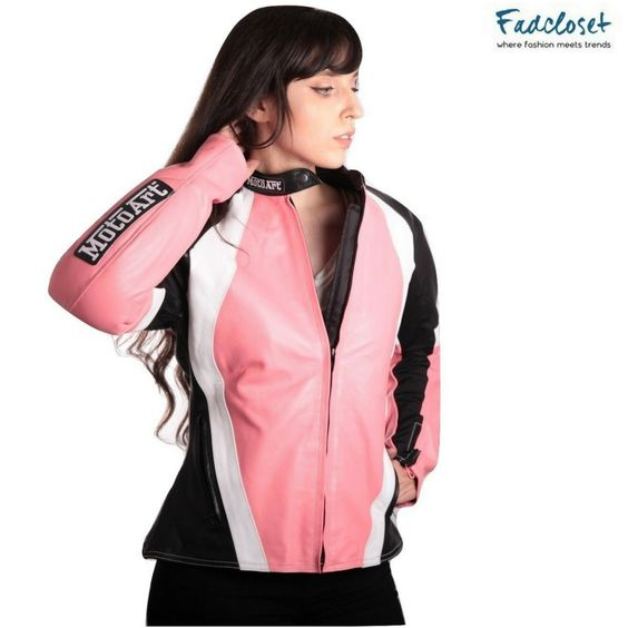 Womens favourite pink, white and black women leather jacket available now!!! Worldwide Shipping  ✅ SECURE CHECKOUT ✅   #womenbikerjacket #leatherjacket #bikerjacket #leatherinstyle #designercollection #jackets  #bikerjacket #bikercollection #fashion #outfits #newarrivals