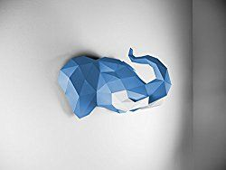 papertrophy blauer elefantenkopf aus papier designer. Black Bedroom Furniture Sets. Home Design Ideas