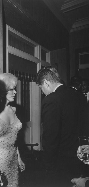 """with JFK at his birthday party, 1962. this is the only known photograph of the 2 of them (Bobby is also in the photo, he's cropped out of this version though). any other pictures you see of """"marilyn and JFK"""" are FAKES."""