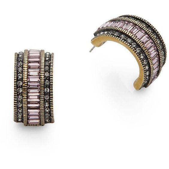 Heidi Daus Gigi Baguette Crystal Half-Hoop Earrings/Pink ($56) ❤ liked on Polyvore featuring jewelry, earrings, pink, pave earrings, round earrings, baguette earrings, crystal hoop earrings and pink jewelry