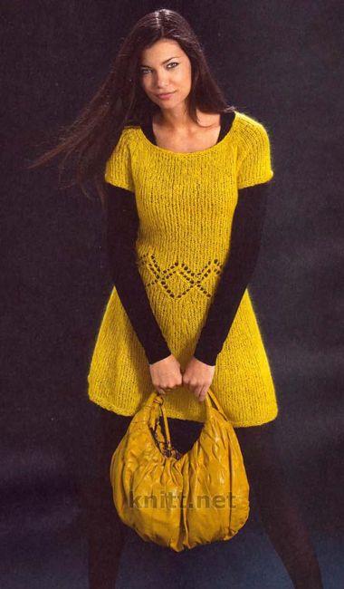 Женские вязаные платья с описанием