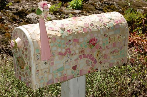 Pink Tiled Mailbox....a use for broken china!