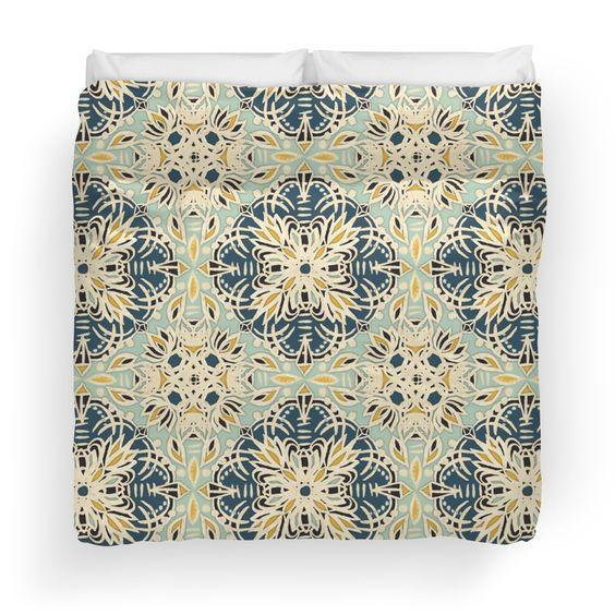 Protea Pattern in Deep Teal, Cream, Sage Green & Yellow Ochre