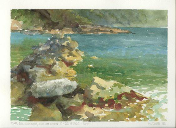 """Baia del Silencio"" Sestri Levante Italy  Pleinair painting by Matthew Daub"