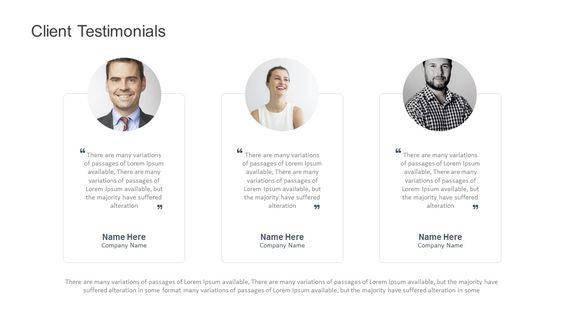 Client Testimonials for PowerPoint. Fully editable instantly downloadable.