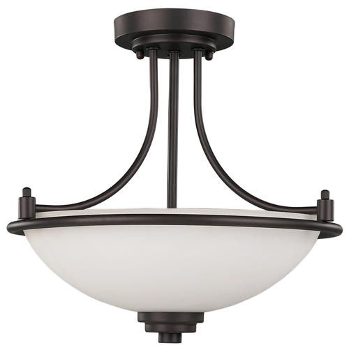 "Camden 3-Light 15"" Oil Rubbed Bronze Semi-Flush Mount at Menards -- Possibility for the office"