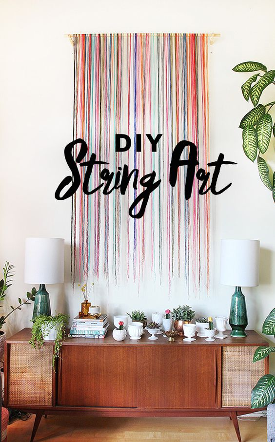 Make your own modern and unique wall art with this simple DIY string wall art tutorial by The Sweet Escape.