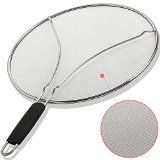#9: BergKoch Splatter Screen 13  Stops 97% of Hot Oil Splash  Protects your Face and Skin from Burns  Splash Guard Keeps Your Kitchen Clean  Ultra Fine Heavy Duty Mesh  Stainless Steel  Warranty
