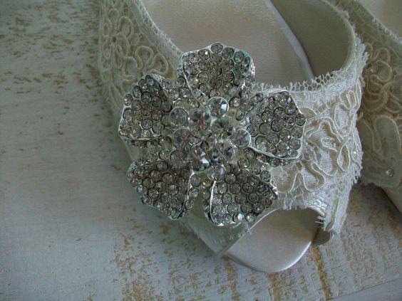Lace Wedding Shoes Vintage Antique Flower Bling Lace by Parisxox, $325.00