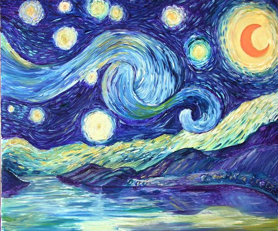Notte stellata una mia versione più    personale, ancora più…. sognata Olio su tela