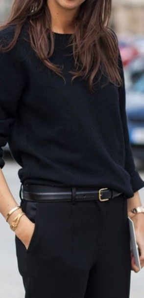 belt black cashmere sweater pants classy minimalist chic french lookbook look outfit idea office outfits all black everything: