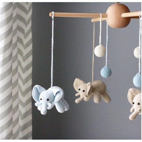 Elephant Crib Mobile Unique Baby Mobiles Knit Handmade