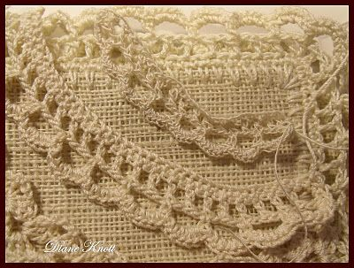 Crocheting on Burlap