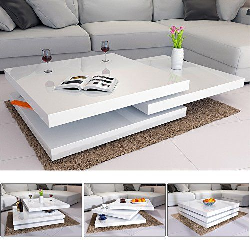 Deuba Table Basse De Salon Blanc Moderne Carre 80x80cm Laquee Brillante Rotative A 360 Charge Max 20 Kg Table De Salon Design Table Basse Salon Table De Salon