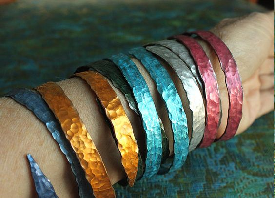 SMASHED Metal Knitting Needle Bracelet Thick by ChristinesCabinet