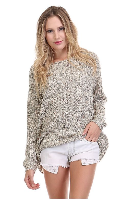 Oversized long sleeve oatmeal knit sweater is comfy and perfect to pair with your fall pumpkin spice latte addiction!