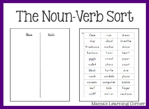 math worksheet : free parts of speech worksheets the noun verb sort  parts of  : Verb Worksheets For Kindergarten