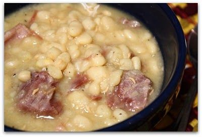 Ham & Bean Soup- I add carrots and liquid smoke.