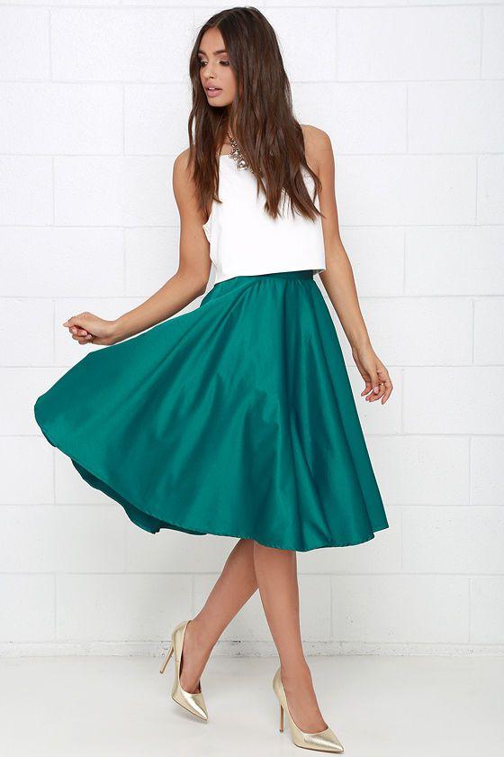 Sock Hop Sweetheart Dark Teal Midi Skirt | I love, Pump and Skirts