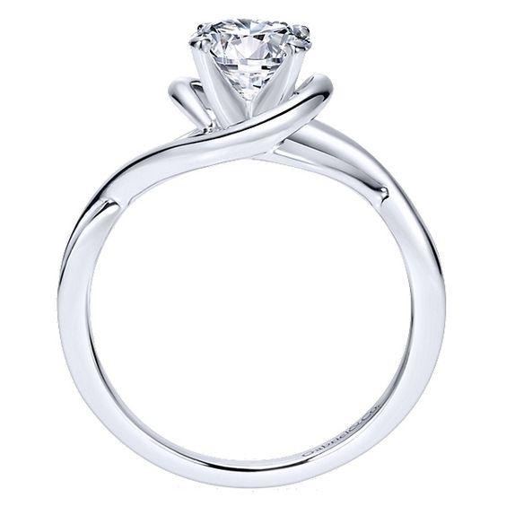 Gabriel - Celine 14k White Gold Round Twisted Engagement Ring