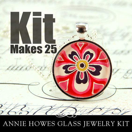 1 Inch Clear Circle Glass Pendant Kit with Pendant by AnnieHowes, $38.00, makes 25 pendants