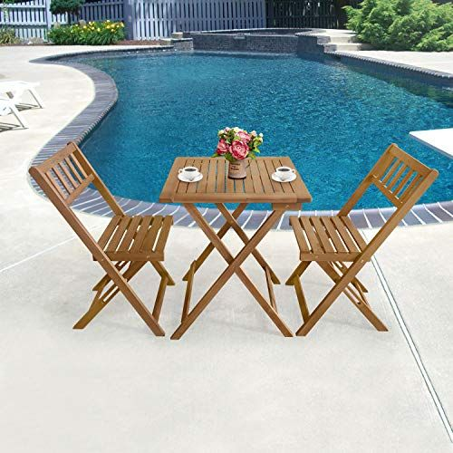 Blue Patio Bistro Set Seats 2 Cushioned Swivel Chairs Outdoor Small Space Deck Porch