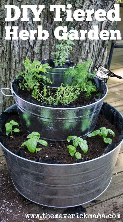 Build a Tiered Herb Garden in Galvanized Tubs: