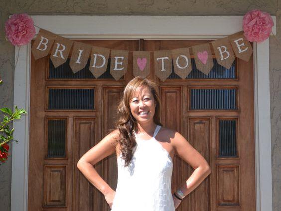 Bride to Be Burlap Banner, Bridal Shower Banner, Bridal Photo Prop on Etsy, $33.00
