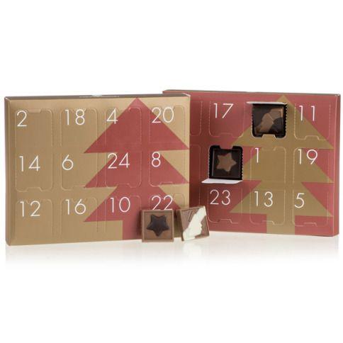 Ein hübscher rot-goldener Adventskalender zum Aufstellen mit 24 Schokoladentäfelchen aus weißer, Zartbitter- und Vollmilchschokolade. #Adventskalender #Weihnachten