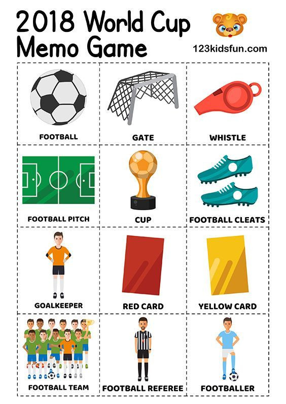 Memory Game Football World Cup 2018 Free Worksheets And Activities For Kids Football Football Games For Kids World Cup Games English Activities For Kids