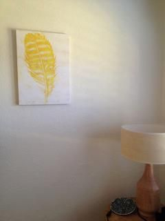 Yellow Feather canvas hanging in the home of Alissa  #urbanroad #canvas #art