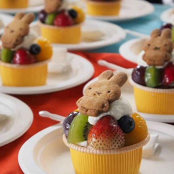 Look at these cute little Miffy fruit cups!