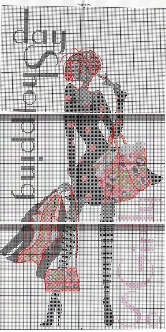 0 point de croix femme girl day shopping - cross stitch 2: