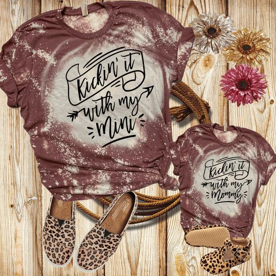 Excited to share the latest addition to my #etsy shop: Mommy and Me distressed Sublimation Shirts, Moma and Daughter set, Kicking with my Mini Mommy, Matching girl outfits, Leopard Tees