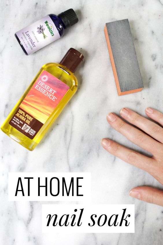 At Home Nail Soak using jojoba oil and lavender essential oil. Easy and great for dry cuticles.