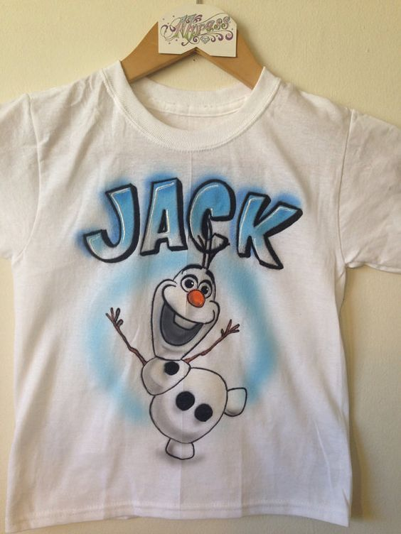 Personalized airbrushed olaf inspired kids t shirt olaf for Custom made airbrushed shirts
