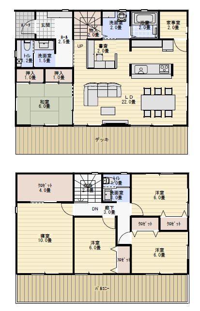 44坪5ldk 家事室と書斎コーナーのある家の間取り図 新築間取り 家