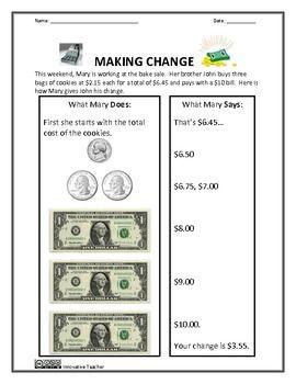 Money Worksheets - Money Sense and Making Change | Innovative ...